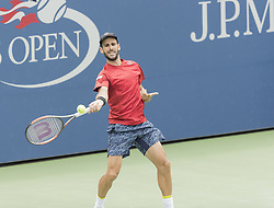 August 31, 2017 - New York, New York, United States - Adrian Menendez-Maceiras of Spain returns ball during match against Juan Martin del Potro of Argentina at US Open Championships at Billie Jean King National Tennis Center  (Credit Image: © Lev Radin/Pacific Press via ZUMA Wire)