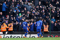Everton's Cenk Tosun (left) celebrates scoring his side's second goal of the game
