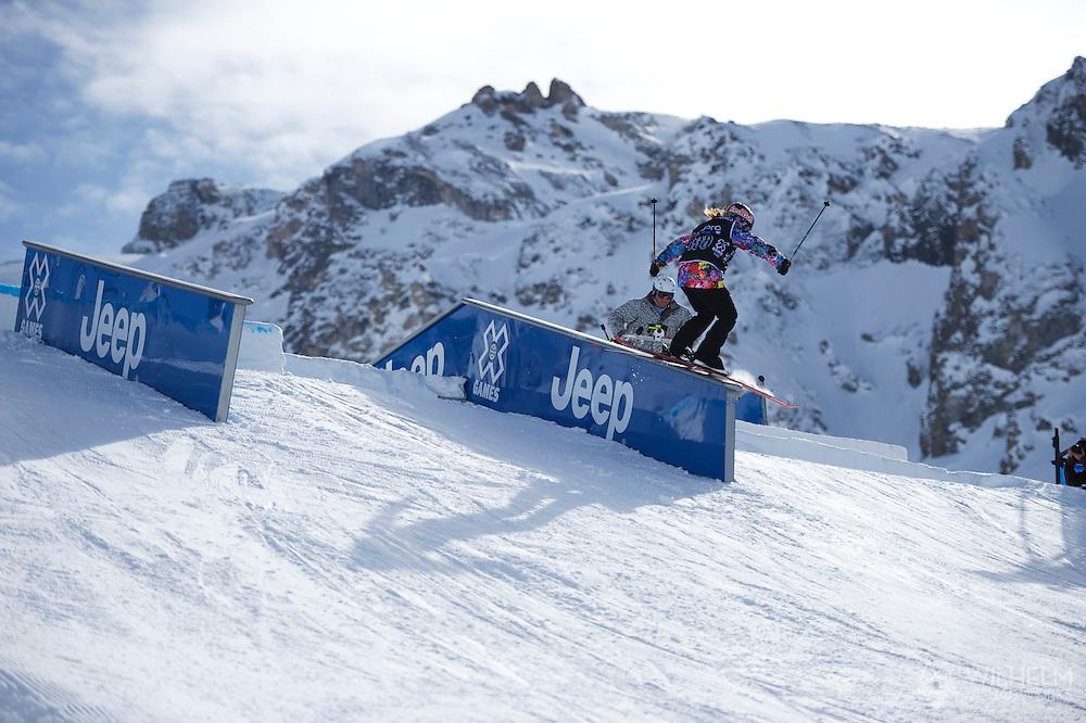 Kaya Turski during Women's Ski Slopestyle Finals at the 2013 X Games Tignes in Tignes, France. ©Brett Wilhelm/ESPN