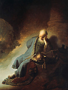 Jeremiah Lamenting the Destruction of Jerusalem', 1630. Oil on canvas. Rembrandt Harmenszoon van Rijn (1606-1669) Dutch painter and etcher. Age Sorrow Religion Judeo-Christian