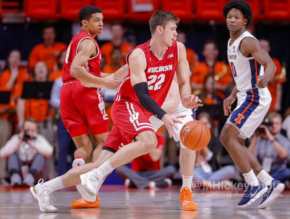 CHAMPAIGN, IL - JANUARY 23: Ethan Happ #22 of the Wisconsin Badgers dribbles the ball during the game against the Illinois Fighting Illini at State Farm Center on January 23, 2019 in Champaign, Illinois. (Photo by Michael Hickey/Getty Images) *** Local Caption *** Ethan Happ