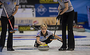 """Glasgow. SCOTLAND.   Russia's Galina ARSENKINA during the  """"Round Robin"""" Game. CZE vs RUS, Le Gruyère European Curling Championships. 2016 Venue, Braehead  Scotland<br /> Monday  21/11/2016<br /> <br /> [Mandatory Credit; Peter Spurrier/Intersport-images]"""