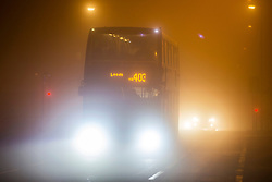 © Licensed to London News Pictures. 05/02/2019. Leeds UK. Drivers in Leeds face difficult conditions this morning as thick fog covers part's of Yorkshire. Photo credit: Andrew McCaren/LNP