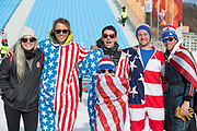 American fans following the mens boardercross finals at the Pyeongchang Winter Olympics on 15th February 2018 at Phoenix Snow Park in South Korea
