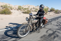 Cris Sommer Simmons of Hawaii riding her 1915 Harley-Davidson during the Motorcycle Cannonball Race of the Century. Stage-14 ride from Lake Havasu CIty, AZ to Palm Desert, CA. USA. Saturday September 24, 2016. Photography ©2016 Michael Lichter.