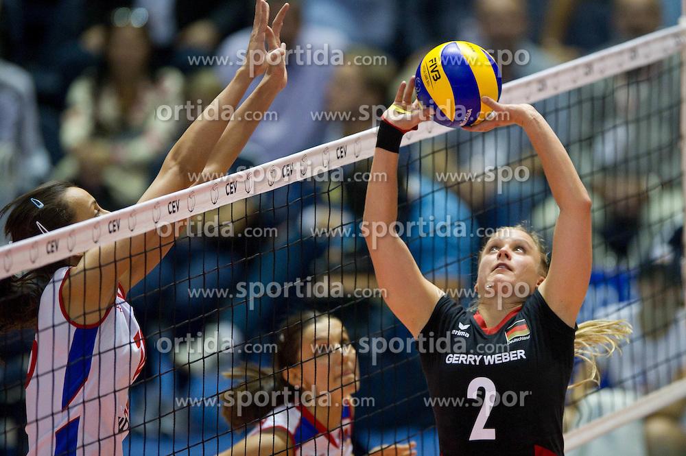 02.10.2011, Hala Pionir, Belgrad, SRB, Europameisterschaft Volleyball Frauen, Finale, Deutschland (GER) vs. Serbien (SRB), im Bild Milena Rasic (#16 SRB) - Kathleen Weiß / Weiss (#2 GER) // during the 2011 CEV European Championship, Final at Hala Pionir, Belgrade, SRB, Germany vs Serbia, 2011-10-02. EXPA Pictures © 2011, PhotoCredit: EXPA/ nph/  Kurth       ****** out of GER / CRO  / BEL ******
