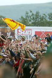 Fans pic during Franz Ferdinand set on the main stage at T in the Park, July 11, 2004..©Michael Schofield..