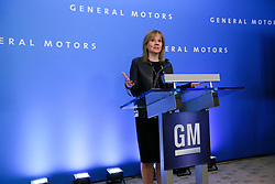 June 6, 2017 - USA - Chairman and Chief Executive Officer of General Motors Company Mary Barra speaks during the General Motors press conference before the Shareholder Meeting at the Renaissance Center in Detroit on Tuesday, June 6, 2017. (Credit Image: © Kimberly P. Mitchell/TNS via ZUMA Wire)