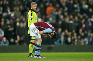 Leicester city goalkeeper Kasper Schmeichel looks on at Libor Kozak of Aston Villa  after Robert Huth of Leicester city had brought the Villa player down in the penalty area but no penalty is awarded. Barclays Premier league match, Aston Villa v Leicester city at Villa Park in Birmingham, The Midlands on Saturday 16th January 2016.<br /> pic by Andrew Orchard, Andrew Orchard sports photography.