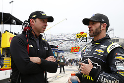May 6, 2018 - Dover, Delaware, United States of America - Jimmie Johnson (48) hangs out on pit road with Chad Knaus while under a red flag due to rain during the AAA 400 Drive for Autism at Dover International Speedway in Dover, Delaware. (Credit Image: © Justin R. Noe Asp Inc/ASP via ZUMA Wire)