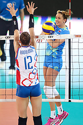 Monika Potokar of Slovenia vs Nikola Radosova of Slovakia during volleyball match between Slovenia and Slovakia in CEV European League Women on June 22, 2016 in Stozice, Ljubljana, Slovenia. Photo by Morgan Kristan / Sportida