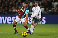 Zlatan Ibrahimovic of Manchester United taking a shot past Winston Reid of West Ham United. Premier league match, West Ham Utd v Manchester Utd at the London Stadium, Queen Elizabeth Olympic Park in London on Monday 2nd January 2017.<br /> pic by John Patrick Fletcher, Andrew Orchard sports photography.