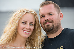 Stina and Joe Mialki (of Giuseppe's Steel City Pizza) at  <br /> Billy Lane's Sons of Speed vintage motorcycle racing during Biketoberfest. Daytona Beach, FL, USA. Saturday October 21, 2017. Photography ©2017 Michael Lichter.