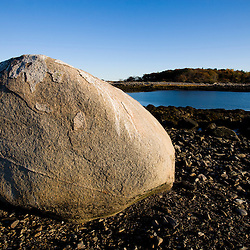 A boulder on Timber Island in Biddeford, Maine