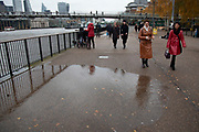 Autumn tide surge in the River Thames on 28th November 2019 in London, England, United Kingdom.