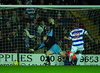 © Peter Spurrier/Sportsbeat Images <br />Tel + 441494783165 email images@sbimages.co.uk<br />29/11/2003 - Photo  Peter Spurrier<br />2003/04 Nationwide Football Div 2 QPR V Sheffield Wed<br />Ranger late sub Kevin McLeod slips the ball past Kevin Pressman to score Ranger's third.