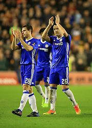 18 February 2017 - The FA Cup - (5th Round) - Wolverhampton Wanderers v Chelsea - John Terry and Cesar Azpilicueta of Chelsea applaud the fans - Photo: Marc Atkins / Offside.