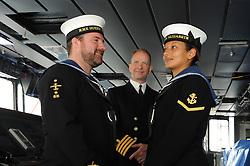 HMS Queen Elizabeth, Rosyth,24-5-2016        <br /> <br /> Leading Airman Thomas Hardcastle, Capt Kid and Leading Physical Trainer Michelle Mattinson<br /> <br /> (c) David Wardle   Edinburgh Elite media