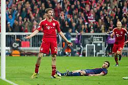 23-04-2013 VOETBAL: UEFA CL SEMI FINAL FC BAYERN MUNCHEN - FC BARCELONA: MUNCHEN<br /> Jubel nach dem Tor zum 4-0 durch Thomas Mueller (FCB #25)<br /> ***NETHERLANDS ONLY***<br /> ©2013-FotoHoogendoorn.nl