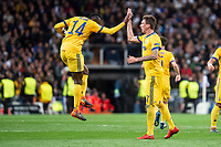 Juventus Blaise Matuidi and Mario Mandzukic celebrating a goal during Champion League match between Real Madrid and Juventus at Santiago Bernabeu Stadium in Madrid, Spain. April 11, 2018. (ALTERPHOTOS/Borja B.Hojas)