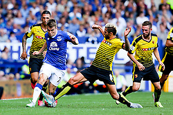 Everton's Seamus Coleman is tackled by Watford's Valon Behrami  - Mandatory byline: Matt McNulty/JMP - 07966386802 - 08/08/2015 - FOOTBALL - Goodison Park -Liverpool,England - Everton v Watford - Barclays Premier League