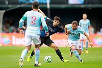 RC Celta de Vigo's Hugo Mallo (l) and Stanislav Lobotka (r) and Deportivo Alaves' Enzo Zidane Fernandez during La Liga match. September 10,2017. (ALTERPHOTOS/Acero)