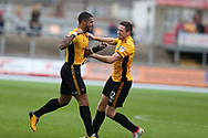Joss Labadie of Newport county (l) celebrates with teammate Ben Tozer  after he scores his teams 2nd goal. EFL Skybet football league two match, Newport county v Yeovil Town at Rodney Parade in Newport, South Wales on Saturday 7th October 2017.<br /> pic by Andrew Orchard,  Andrew Orchard sports photography.