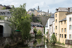 The Alzette in the area of Grund, located beneath Ville Haute, Luxembourg.