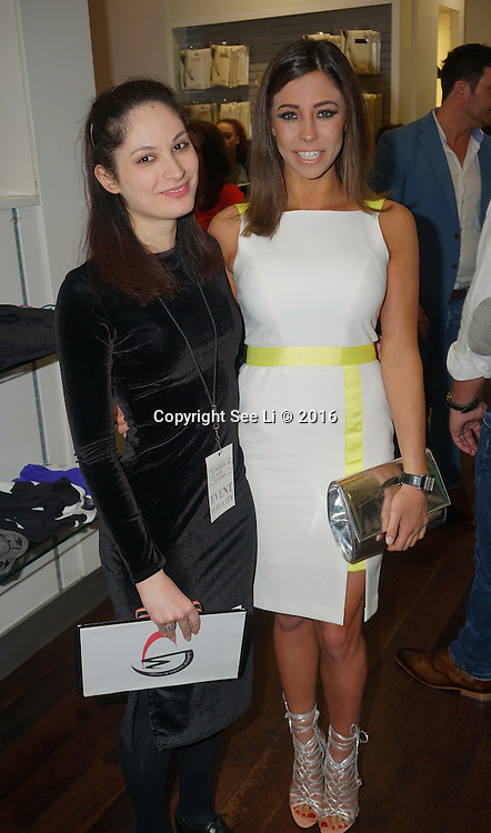 London,England,UK : 28th April 2016 : Pascal Craymer, Laura from London Flair Pr  attend Kimberly Wyatt launches the 2016 annual BLOCH Dance World Cup at BLOCH, 35 Drury Lane, Covent Garden, London. Photo by See Li