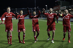 (L-R)  Josef Kvida of Almere City, Faris Hammouti of Almere City , Jerge Hoefdraad of Almere City<br />, Javier Vet of Almere City, Kees van Buuren of Almere City during the Jupiler League match between Almere City FC and NEC Nijmegen at the Yanmar stadium on January 19, 2018 in Almere, The Netherlands