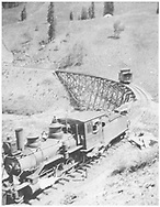 """RGS 2-8-0 #6 at south end of Upper Gallagher trestle with short caboose stranded on the trestle """"after losing coupling.""""<br /> RGS  Gallagher, CO  Taken by Virden, Walter - 1906<br /> In book """"Southern, The: A Narrow Gauge Odyssey"""" page 150<br /> Identical to RD155-055."""