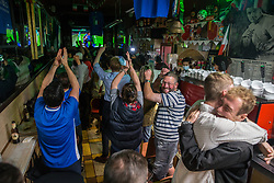 © Licensed to London News Pictures.  06/07/2021. London, UK. Italian football supporters react to their game with Spain during the EURO 2020 in Bar Italia, Soho, central London. Photo credit: Marcin Nowak/LNP