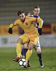 January 10, 2018 - Tubize, BELGIUM - Tubize's Hugo Videmont and Beerschot's Tom Pietermaat fight for the ball during a soccer game between AFC Tubize and Beerschot-Wilrijk, in Tubize, Wednesday 10 January 2018, on day 19 of the division 1B Proximus League competition of the Belgian soccer championship. The game was postponed because of bad weather conditions on December 10th. BELGA PHOTO JOHN THYS (Credit Image: © John Thys/Belga via ZUMA Press)