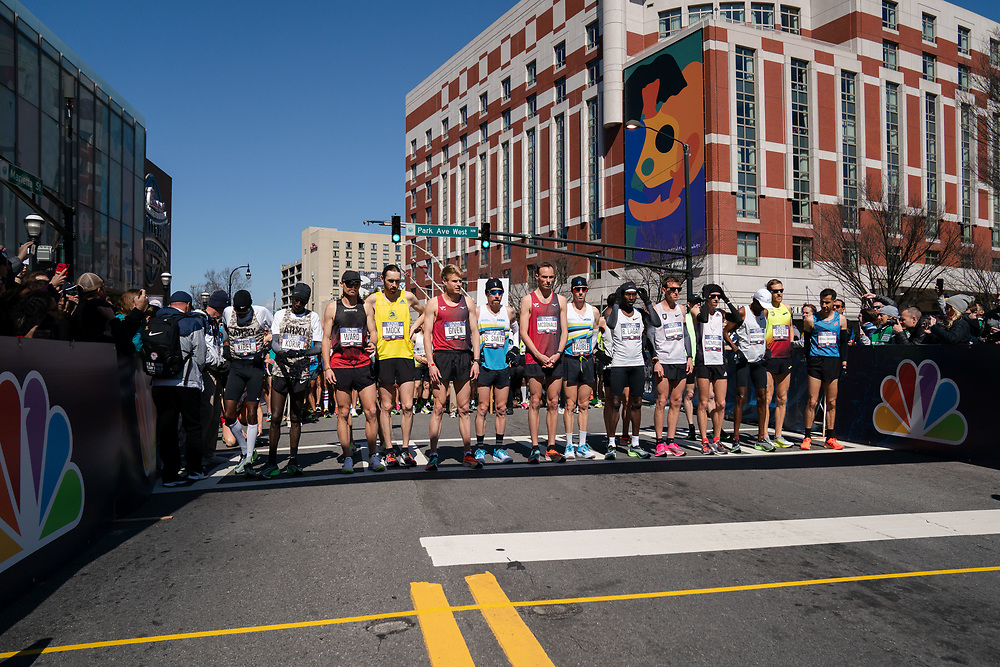 The top runners in the men's field prepare to start the 2020 U.S. Olympic marathon trials in Atlanta on Saturday, Feb. 20, 2020. Photo by Kevin D. Liles for The New York Times