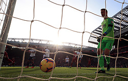 Liverpool's Sadio Mane (not in picture) scores his side's first goal of the game during the Premier League match at Anfield, Liverpool.