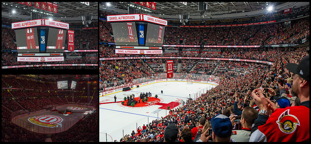 OTTAWA, ON. - DEC 29: Former Ottawa Senator Daniel Alfredsson has his jersey with his number 11 retired to the rafters of the Canadian Tire Centre prior to the NHL game between the Ottawa Seantors and the Detroit Red Wings on December 29, 2016 in Ottawa, ON. Canada. <br /> <br /> PHOTO'S: Steve Kingsman / Freestyle Photography for the Ottawa Senators