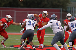 NORMAL, IL - September 08: Brady Davis passing from pocket during 107th Mid-America Classic college football game between the ISU (Illinois State University) Redbirds and the Eastern Illinois Panthers on September 08 2018 at Hancock Stadium in Normal, IL. (Photo by Alan Look)