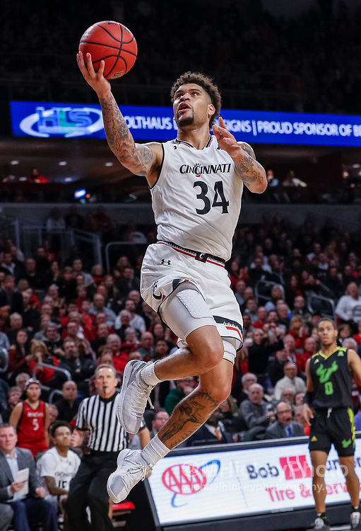 CINCINNATI, OH - JANUARY 15: Jarron Cumberland #34 of the Cincinnati Bearcats shoots the ball during the second half of the game against the South Florida Bulls at Fifth Third Arena on January 15, 2019 in Cincinnati, Ohio. (Photo by Michael Hickey/Getty Images) *** Local Caption *** Jarron Cumberland