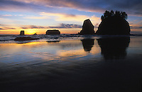 "Sunset with ""Haystack Rocks"" at 2nd Beach, Olympic National Park Coastal Strip, Washington,  USA<br />"