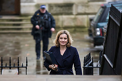 © Licensed to London News Pictures. 20/02/2018. London, UK. Home Secretary Amber Rudd arrives on Downing Street for the weekly Cabinet meeting. Photo credit: Rob Pinney/LNP