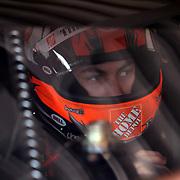 Sprint Cup Series driver Joey Logano (20) in his car at Daytona International Speedway on February 18, 2011 in Daytona Beach, Florida. (AP Photo/Alex Menendez)