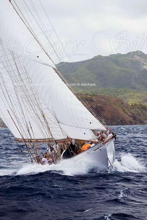 Adventuress sailing in the Antigua Classic Yacht Regatta, Old Road Race.