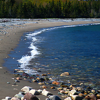 North America, Canada, Nova Scotia, Halfway Cove. Beach near Halfway Cove on Chedabucto Bay.