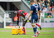 """Twickenham, Surrey United Kingdom. The radio controlled DHL van delivers the game ball before the start of the Pool A match USA vs Kenya, at the  """"2017 HSBC London Rugby Sevens"""",  Saturday 20/05/2017 RFU. Twickenham Stadium, England    <br /> <br /> [Mandatory Credit Peter SPURRIER/Intersport Images]"""