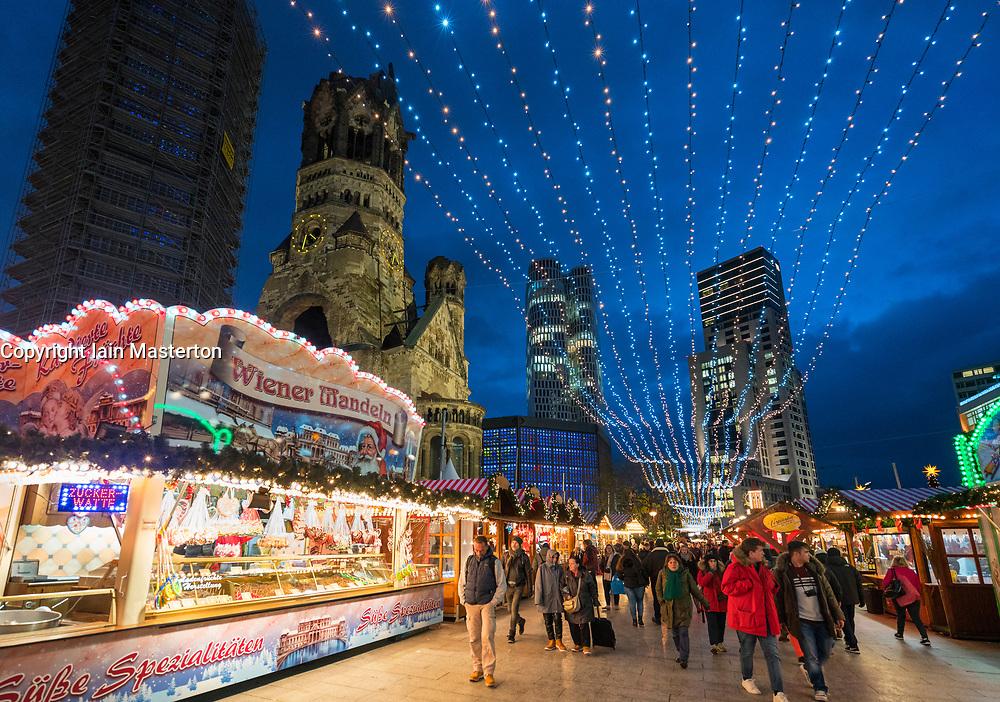 Traditional Christmas Market at night at Breitscheidplatz in 2017 in Berlin, Germany