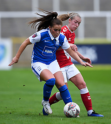 Flo Allen of Bristol City Women challenges Jamie-Lee Napier of Birmingham City Women - Mandatory by-line: Ryan Hiscott/JMP - 18/10/2020 - FOOTBALL - Twerton Park - Bath, England - Bristol City Women v Birmingham City Women - Barclays FA Women's Super League