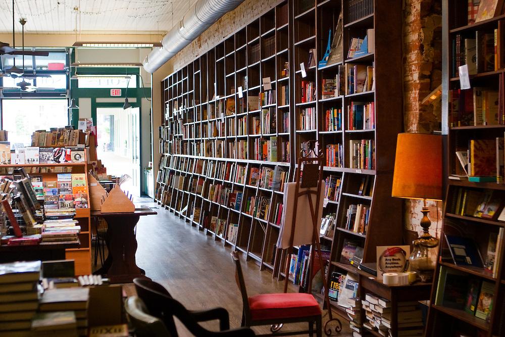 Interior of Off the Square Books, Oxford Mississippi.