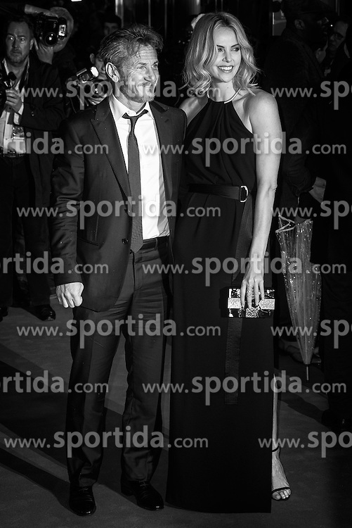 Sean Penn and Charlize Theron attends the World Premiere of THE GUNMAN on 16/02/2015 at BFI South Bank, London. Sean Penn, Charlize Theron. Editors Note: This image has been converted to monochrome. EXPA Pictures © 2015, PhotoCredit: EXPA/ Photoshot/ Julie Edwards<br /> <br /> *****ATTENTION - for AUT, SLO, CRO, SRB, BIH, MAZ only*****