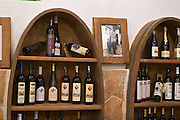 In the winery wine shop, display of various wines from the Medugorje region: Dujmovic, Buntit, Stankela, Andrija... Podrum Vinoteka Sivric winery, Citluk, near Mostar. Federation Bosne i Hercegovine. Bosnia Herzegovina, Europe.
