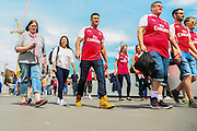 Fans arriving at Wembley before the FA Community Shield match between Chelsea and Arsenal at Wembley Stadium, London, England on 2 August 2015. Photo by Shane Healey.